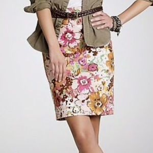 J.Crew Pink Floral Watercolor Pencil Skirt Size 6